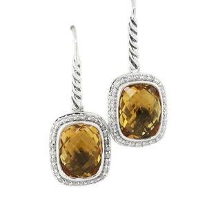 David Yurman Noblesse Diamond Citrine Earrings